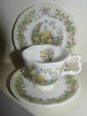 BRAMBLY HEDGE ROYAL DOULTON MINIATURE SPRING TRIO CUP SAUCER & PLATE 1st QUALITY