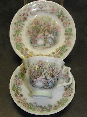 BRAMBLY HEDGE ROYAL DOULTON MINIATURE SUMMER TRIO CUP SAUCER & PLATE 1st QUALITY