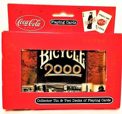 BICYCLE 2000 Coca Cola - 2 decks of Playing Cards Limited Edition Collector Tin