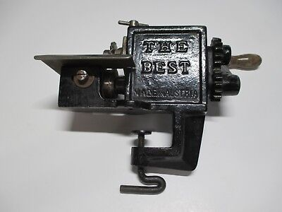 "Antique ""THE BEST"" Made in AUSTRIA Pinking Machine HAND CRANK Crimper"