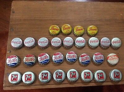 Vintage Used Lot of 61 Soda Pop most Cork Bottle Caps Squirt Nesbitts Pepsi Coke