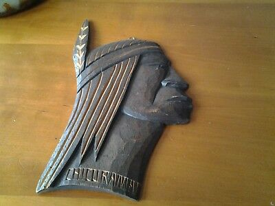 Vintage Carved Wooden Indian Head