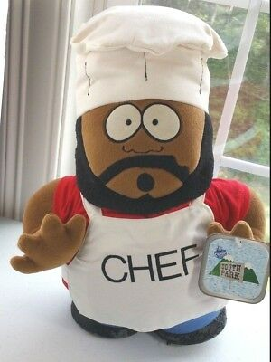 """Vintage 1998 South Park CHEF 14"""" Plush Toy Comedy Central Original NEW With Tags"""