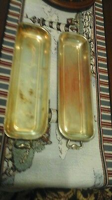 "Two Vintage Handled 12"" Long By Almost 4""w Serving Trays, See Pictures"