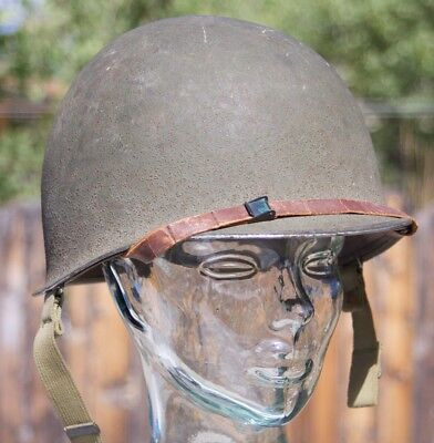 M1 helmet fixed bale front seam untouched w liner and strap