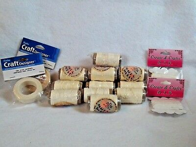 Lot of Miniature making supplies, 16 items waxed linen for wicker work