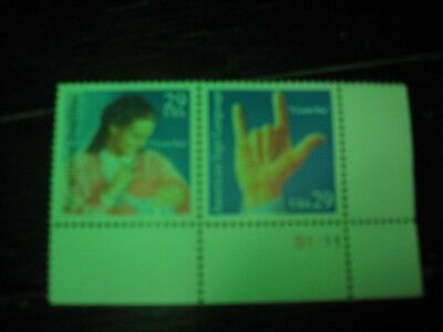 U.S. Postage Stamps Recognizing Deafness/American Sign Language 2 -29 cent New