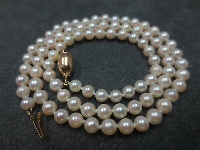 """14k VTG 4mm-4.4mm Cultured Pearl Necklace with 14K Solid Y. Gold Clasp 16"""""""