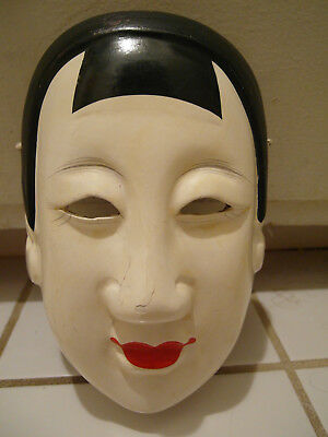 Rare Antique Japanese Noh Theater Hand Made Carved Wood Wooden Wall Mask Face