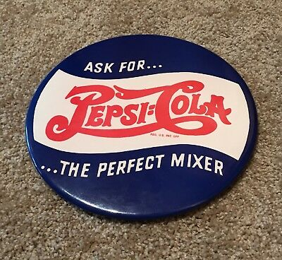 Round Celluloid Pepsi Cola Sign