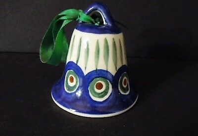 New - Boleslawiec Polish Pottery Peacock Feather Christmas Tree Bell Ornament