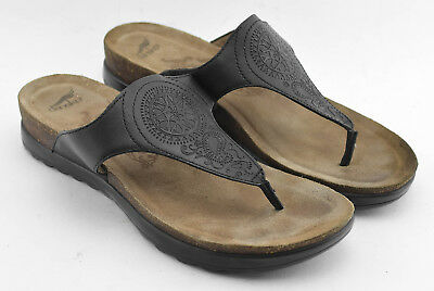 251fe3df6ecd Womens Dansko Leather Sandals Shoes Size 38 Eu Black Brown Thong Flip Flops