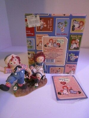 Raggedy Ann & Andy With Wagon Figurine ~ Bumpy Roads Are Easier #544884 Enesco