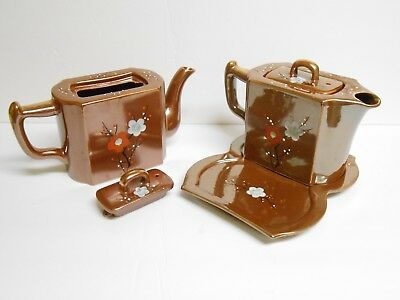 TT Japan Side by Side Tea Set With Tray Hand Painted Floral