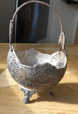 Solid Silver Persian Bowl With Handle