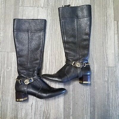 bb07ec479abf TORY BURCH Brown Textured Leather Knee High Boots Gold Logo Hardwear (SIZE  5.5M)