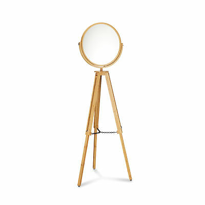 Free Standing Wooden Floor Mirror, Bathroom Cheval Vanity Mirror, Swivel, Bamboo
