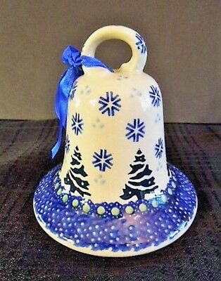 New - Boleslawiec Polish Pottery Christmas Tree Bell Ornament/ Decoration