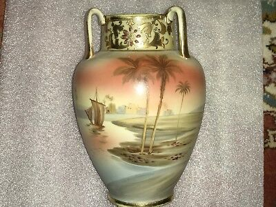 Hand Painted Nippon Vase With Sailboat Gold Trim And Soft Pastel Colors Perfect