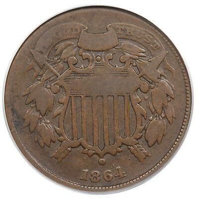 1864 Two Cent Piece, Small Motto, PCGS VG08