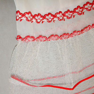 Girl's Child's Vintage Slip 1/2 - 1950s Crinoline Flounce Nylon Red Trim 11""