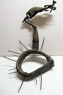 Unique Primitive Old Farm Torture Device For Calf Weaning With Nails & Leather