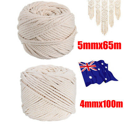 4-5mm Macrame Rope Natural Beige Cotton Twisted Cord Artisan Hand Craft 100M LG