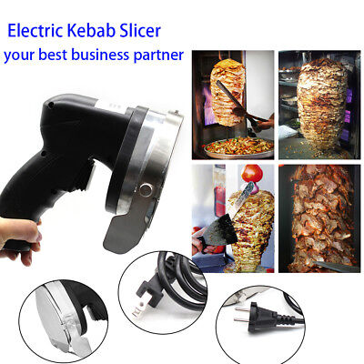 Electric Kebab Slicer Meat Knife Cutter Doner Shawarma Cutting Machine 2 Blades