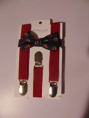 Starting Out Baby Boys Truck With Christmas Tree Red Bow Tie And Suspender Set
