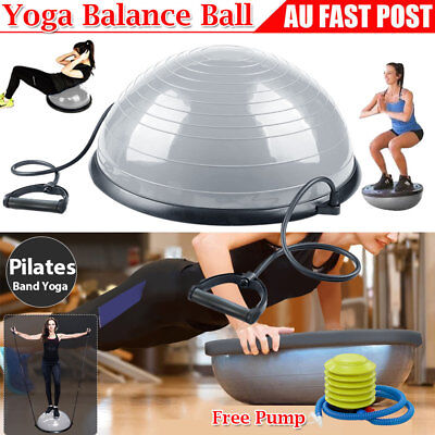 Yoga Bosu Half Balance Ball Pilates Core Exercise Resistance Bands Gym Training