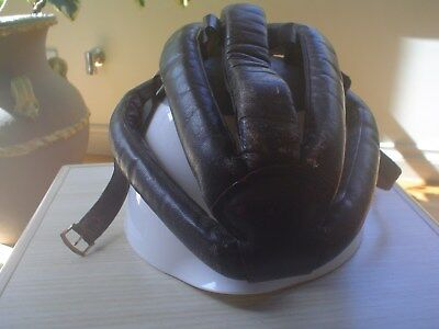 1950s Leather Cycling Helmet - Vintage Bicycle Helmet. Bar Chin Strap Type