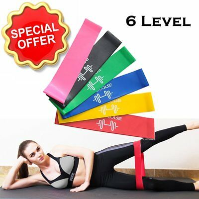6 Level Resistance Exercise Loop Bands Home Gym Fitness Premium Natural Latex