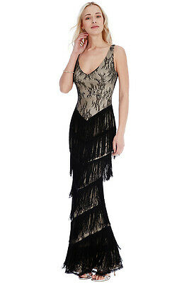 Elegant Floaty Lace Evening Gown Maxi Dress Size 16 Eu 44 Cruise
