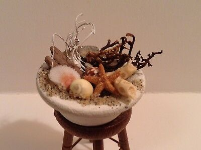 Miniature Bowl of Beach Treasures 1:12 or 1:6 Dollhouse Room Box Nautical Beach