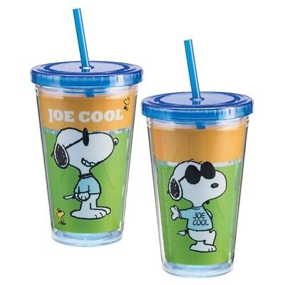 NEW Peanuts Snoopy as Joe Cool 18 oz Acrylic Travel Cup with Straw UNUSED