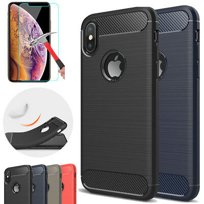 Case For iPhone XS Max XR 7 Carbon Fiber Protective Shockproof Cover + Glass