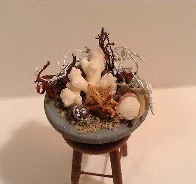 Dollhouse Miniature Bowl of Beach Treasures 1:12 or 1:6  Room Box Nautical Beach