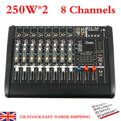 250W*2 8 Channel Professional Powered Mixer Power Mixing Amplifier Amp PMX802D