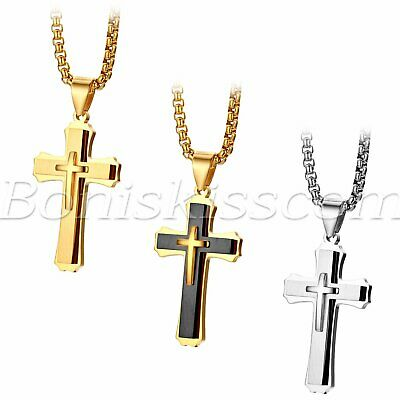 Men's Stainless Steel Double-layer Christ Cross Pendant Necklace Wheat Chain 22""