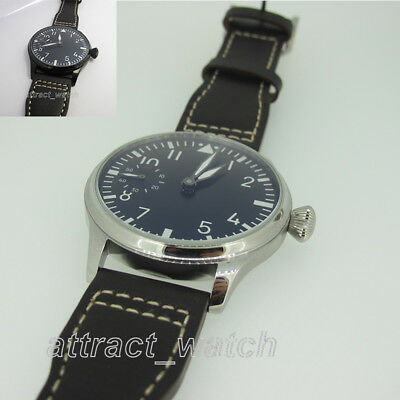 44mm Parnis Hand Winding Movement Men Casual Mechanical Watch PVD Stainless Case