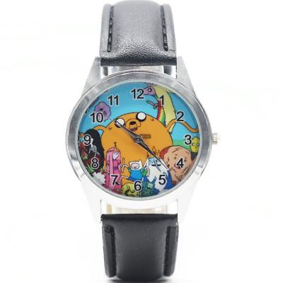Adventure Time with Finn and Jake Black Leather Quartz Wrist Watch for Children