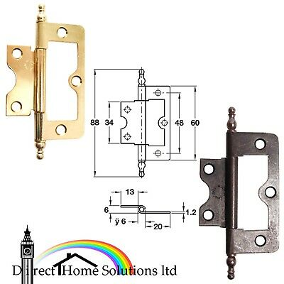 Pair Of Flush Hinges For Inset Doors 88mm, Medium Duty Caravan Brass / Bronzed
