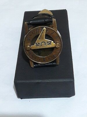 Wrist Brass Compass & Sundial-Watch With Leather Black Strap Sundial