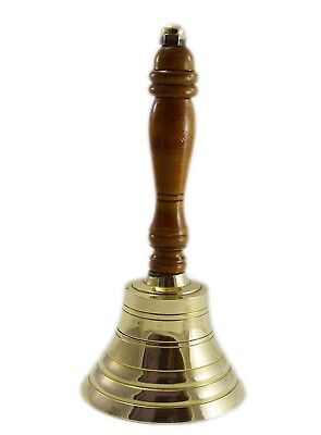 Solid Brass School Bell with Wood Handle Hand Held Service Call Bell L 6""