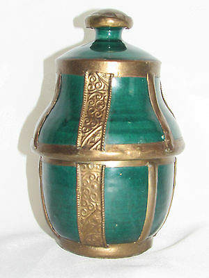 01C9 Antique Jar Butter Jobbana Brass Regrowth Art Islamic Morocco Fes