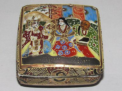 12C5 ANTIQUE BOX ENAMELS CLOISONNE SATSUMA JAPAN xixth / ANTIQUE JAPANESE TIN