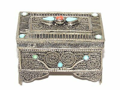 01D20 Antique Box For Jewelry Pillulier Silver Filigree Enamels And Coral Berber