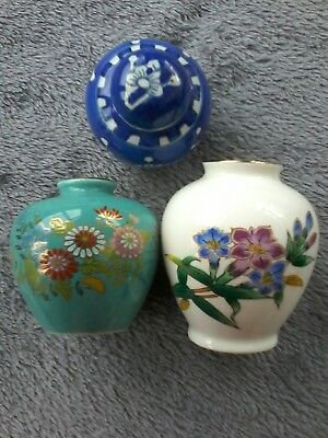 Two Small Chinese Vases, And One Minature Ginger Jar. All Perfect Condition.