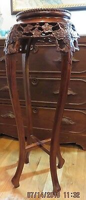 Vintage Carved Oriental Marble Top Chinese Oriental Asian Pedestal Plant Stand