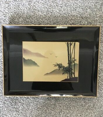 Japanese black lacquer gold edged serving tray. Misty mountain and bamboo design